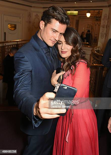 Orlando Bloom and Salma Hayek attend the British Fashion Awards in partnership with Swarovski at the London Coliseum on November 23 2015 in London...
