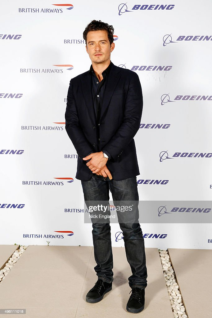 Orlando Bloom attends the British Airways celebration of the launch of its new Boing 787-9 Dreamliner on its daily London-Abu Dhabi-Muscat service. British Airways hosts a secret island party with Australian actress Margot Robbie, Hollywood star Orlando Bloom and a surprise live performance from chart star and judge of TV's The Voice, Jessie J. at Zaya Nurai Island on November 6, 2015 in Abu Dhabi, United Arab Emirates.
