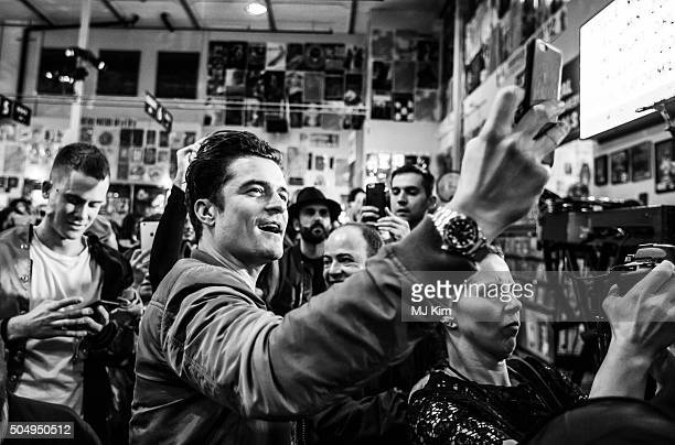 Orlando Bloom attends the Stella McCartney Autumn 2016 presentation and special performance at Amoeba Music on January 12 2016 in Hollywood California
