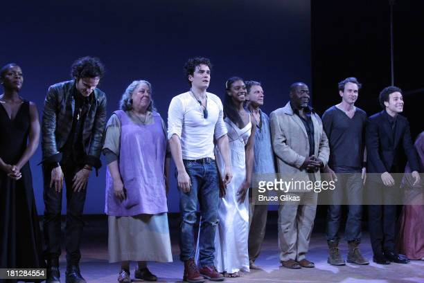 Orlando Bloom Condola Rashad and the cast take thier opening night curtain call in 'Shakespeare's Romeo And Juliet' on Broadway at The Richard Rogers...