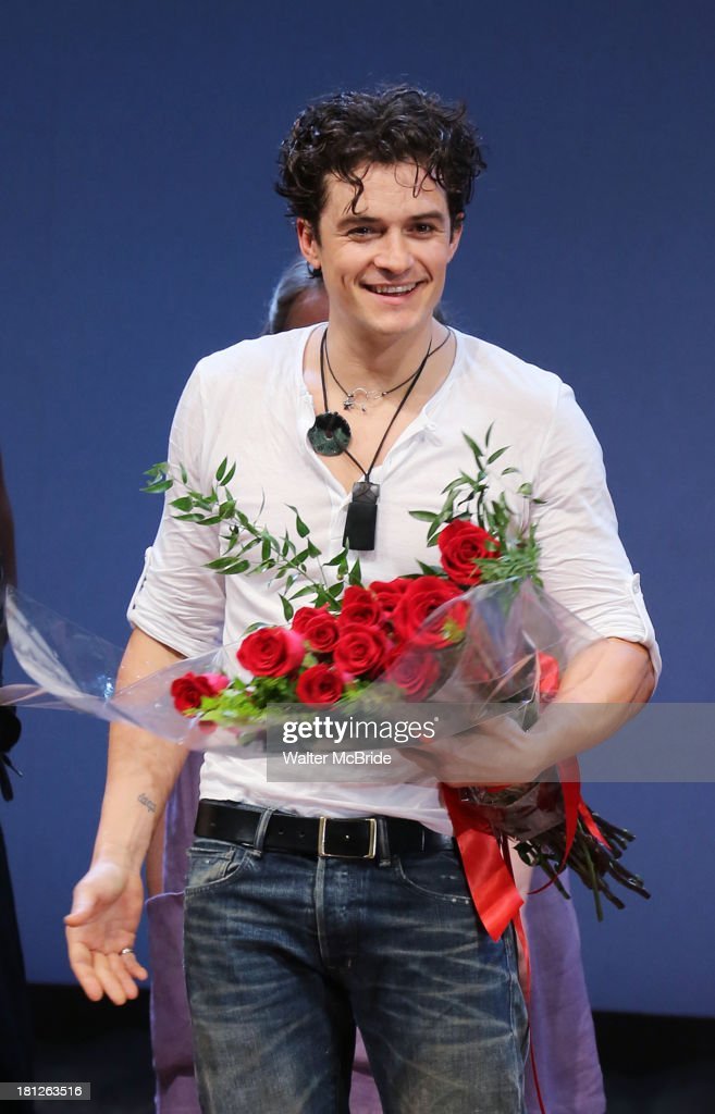 <a gi-track='captionPersonalityLinkClicked' href=/galleries/search?phrase=Orlando+Bloom&family=editorial&specificpeople=202520 ng-click='$event.stopPropagation()'>Orlando Bloom</a> during the 'Romeo And Juliet' Broadway Opening Night Curtain Call at Richard Rodgers Theatre on September 19, 2013 in New York City.