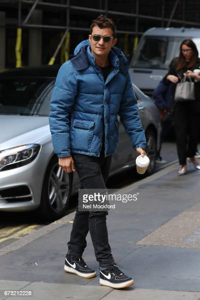 Orlando Bloom seen arriving at Magic Radio Studios on April 26 2017 in London England