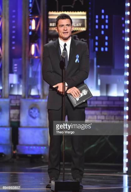 Orlando Bloom speaks onstage during the 2017 Tony Awards at Radio City Music Hall on June 11 2017 in New York City