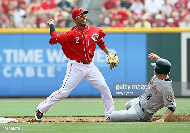 Orlando Cabrera of the Cincinnati Reds throws to first base to complete a double play during the game against the Houston Astros at Great American...