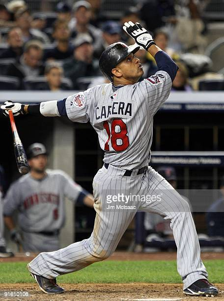 Orlando Cabrera of the Minnesota Twins bats against the New York Yankees in Game One of the ALDS during the 2009 MLB Playoffs at Yankee Stadium on...