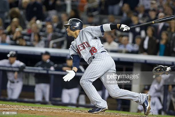 Orlando Cabrera of the Minnesota Twins bats against the New York Yankees on October 7 2009 at Yankee Stadium in New York New York The Yankees won...