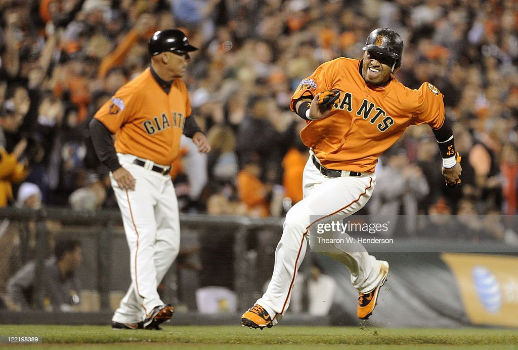 <a gi-track='captionPersonalityLinkClicked' href=/galleries/search?phrase=Orlando+Cabrera&family=editorial&specificpeople=175863 ng-click='$event.stopPropagation()'>Orlando Cabrera</a> #43 of the San Francisco Giants rounds third base to score on a two-run double by <a gi-track='captionPersonalityLinkClicked' href=/galleries/search?phrase=Jeff+Keppinger&family=editorial&specificpeople=835796 ng-click='$event.stopPropagation()'>Jeff Keppinger</a> against the Houston Astros in the fifth inning during an MLB baseball game August 26, 2011 at AT&T Park in San Francisco, California.
