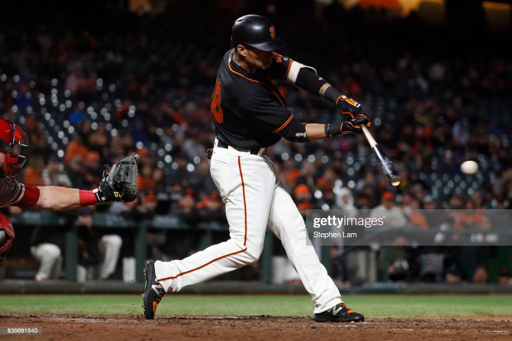Orlando Calixte #46 swings for a single during the ninth inning against the Philadelphia Phillies at AT&T Park on August 19, 2017 in San Francisco, California. The Phillies defeated the Giants 12-9.