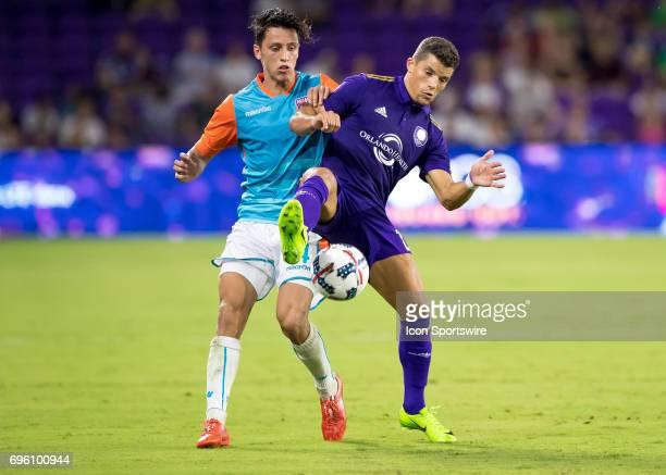 Orlando City SC defender Rafael Ramos vs Miami FC midfielder Robert Baggio Kcira During the Lamar Hunt US Open Cup with Orlando City FC versus NASL...