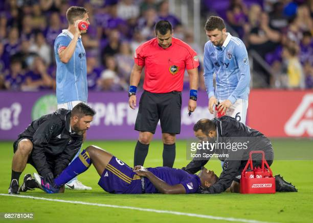 Orlando City SC forward Cyle Larin gets injured During the MLS soccer match between the Orlando City FC and Sporting KC on May 13th at Orlando City...