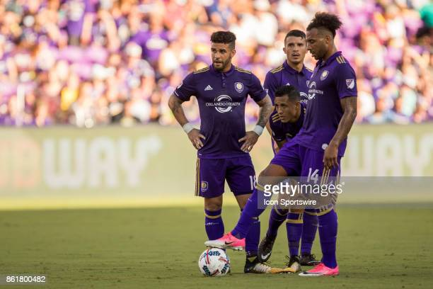 Orlando City SC forward Dom Dwyer Orlando City SC forward Giles Barnes Orlando City SC defender Yoshimar Yotun and Orlando City SC midfielder...