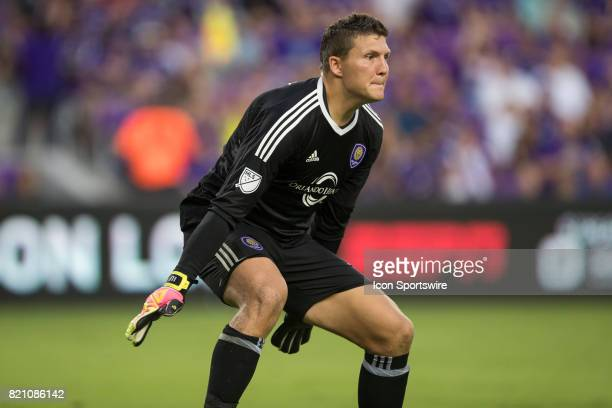 Orlando City SC goalkeeper Joseph Bendik prepares to block a shot on goal during the MLS soccer match between Atlanta United FC and Orlando City SC...