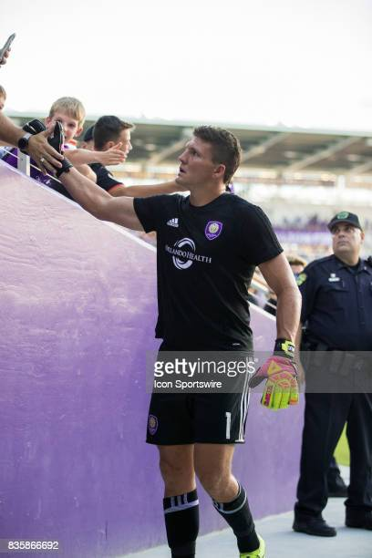 Orlando City SC goalkeeper Joseph Bendik shakes hands with fans before the MLS soccer match between Orlando City SC and Columbus Crew FC on August 19...