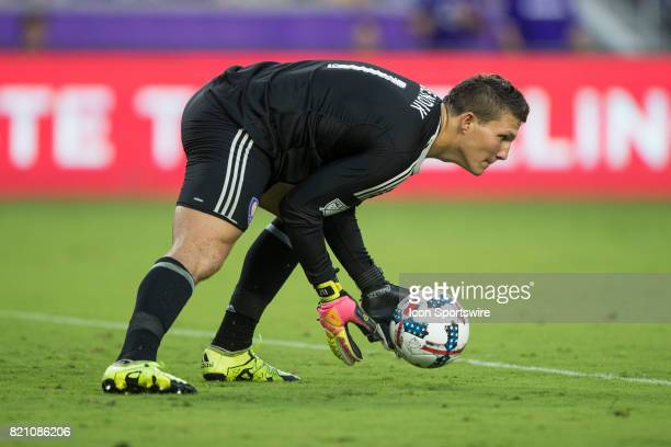 Orlando City SC goalkeeper Joseph Bendik stops a shot on goal during the MLS soccer match between Atlanta United FC and Orlando City SC on July 21...