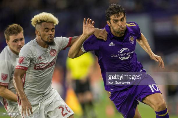 Orlando City SC midfielder Kaka and Atlanta United midfielder Anton Walkes fight for the ball during the MLS soccer match between Atlanta United FC...