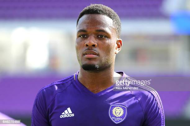 Orlando City SC player Cyle Larin is seen during the Orlando City SC media day event at the Orlando City Stadium on February 28 2017 in Orlando...