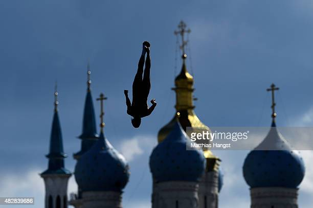 Orlando Duque of Colombia competes in the Men's High Diving 27m preliminary round on day ten of the 16th FINA World Championships at the Kazanka...