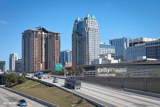 Skyline di Orlando, in Florida, visto da I-4