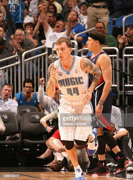 Orlando guard Jason Williams celebrates after sinking a threepointer late in the Magic's 9389 victory over the Atlanta Hawks at Amway Center in...