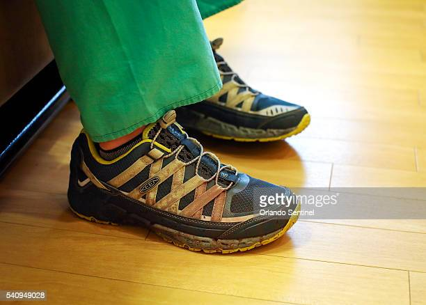 Orlando Health Dr Joshua Corsa still wears the blood stained shoes that he was wearing early Sunday morning when the first victims from the Pulse...
