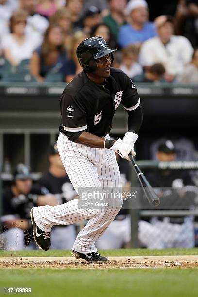 Orlando Hudson of the Chicago White Sox hits against the Milwaukee Brewers during the MLB interleague game at US Cellular Field on June 23 2012 in...