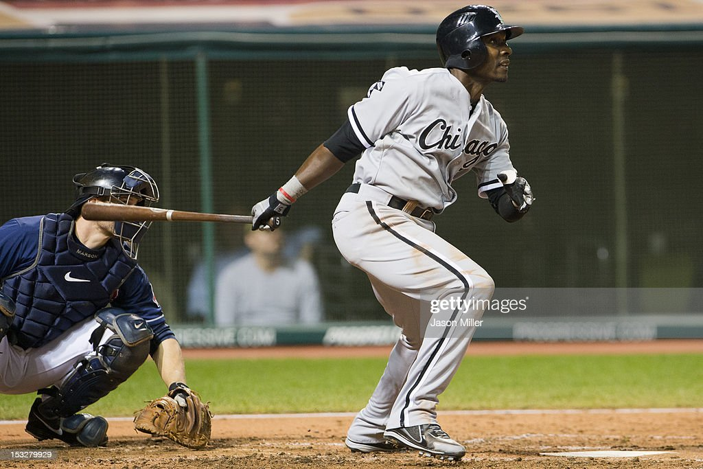 <a gi-track='captionPersonalityLinkClicked' href=/galleries/search?phrase=Orlando+Hudson&family=editorial&specificpeople=203242 ng-click='$event.stopPropagation()'>Orlando Hudson</a> #5 of the Chicago White Sox hits an RBI single during the sixth inning against the Cleveland Indians at Progressive Field on October 2, 2012 in Cleveland, Ohio.