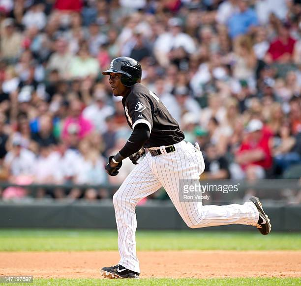 Orlando Hudson of the Chicago White Sox runs the bases during the game against the Cleveland Indians on May 26 2012 at US Cellular Field in Chicago...