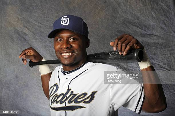 Orlando Hudson of the San Diego Padres poses for a portrait during a photo day at Peoria Stadium on February 27 2012 in Peoria Arizona