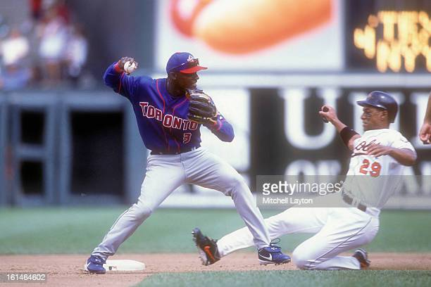 Orlando Hudson of the Toronto Blue Jays forces out Chris SIngleton of the Baltimore Orioles at second base during a baseball game on August 23 2002...