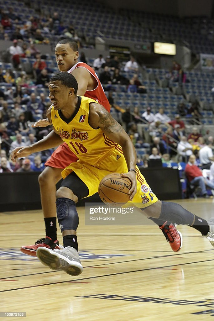 <a gi-track='captionPersonalityLinkClicked' href=/galleries/search?phrase=Orlando+Johnson&family=editorial&specificpeople=6849358 ng-click='$event.stopPropagation()'>Orlando Johnson</a> #18 of the Fort Wayne Mad Ants drives on a Maine Red Claws defender at Allen County Memorial Coliseum on November 25, 2010 in Fort Wayne, Indiana.
