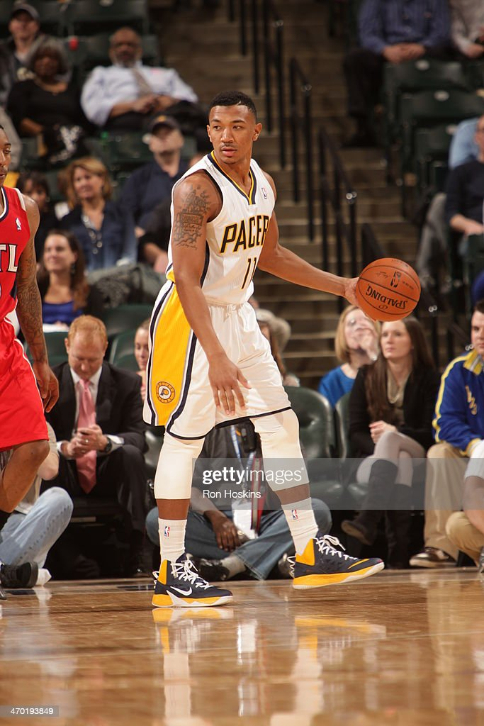 <a gi-track='captionPersonalityLinkClicked' href=/galleries/search?phrase=Orlando+Johnson&family=editorial&specificpeople=6849358 ng-click='$event.stopPropagation()'>Orlando Johnson</a> #11 of the Indiana Pacers controls the ball against the Atlanta Hawks at Bankers Life Fieldhouse on February 18, 2014 in Indianapolis, Indiana.