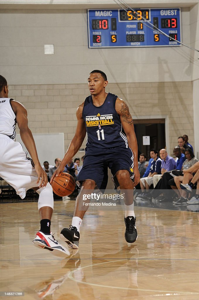 Orlando Johnson #11 of the Indiana Pacers dribbles against the Brooklyn Nets during the 2012 Air Tran Airways Orlando Pro Summer League on July 13, 2012 at Amway Center in Orlando, Florida.