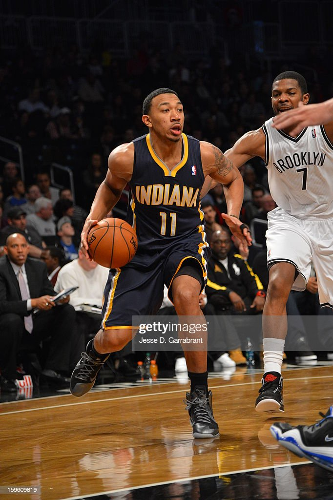 <a gi-track='captionPersonalityLinkClicked' href=/galleries/search?phrase=Orlando+Johnson&family=editorial&specificpeople=6849358 ng-click='$event.stopPropagation()'>Orlando Johnson</a> #11 of the Indiana Pacers dribbles against the Brooklyn Nets during the game at the Barclays Center on January 13, 2013 in Brooklyn, New York.