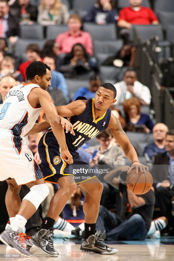 Orlando Johnson #11 of the Indiana Pacers drives to the basket against the Charlotte Bobcats at the Time Warner Cable Arena on January 15, 2013 in Charlotte, North Carolina.