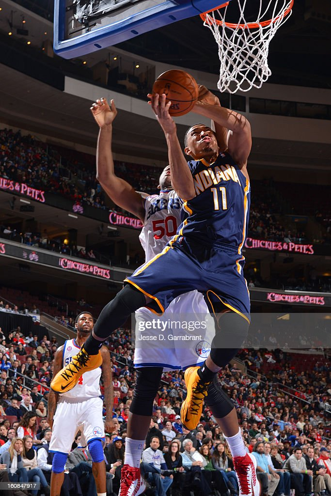 Orlando Johnson #11 of the Indiana Pacers drives to the basket against the Philadelphia 76ers at the Wells Fargo Center on February 6, 2013 in Philadelphia, Pennsylvania.