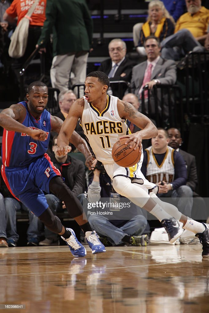 <a gi-track='captionPersonalityLinkClicked' href=/galleries/search?phrase=Orlando+Johnson&family=editorial&specificpeople=6849358 ng-click='$event.stopPropagation()'>Orlando Johnson</a> #11 of the Indiana Pacers drives to the basket against <a gi-track='captionPersonalityLinkClicked' href=/galleries/search?phrase=Rodney+Stuckey&family=editorial&specificpeople=4375687 ng-click='$event.stopPropagation()'>Rodney Stuckey</a> #3 of the Detroit Pistons on February 22, 2013 at Bankers Life Fieldhouse in Indianapolis, Indiana.