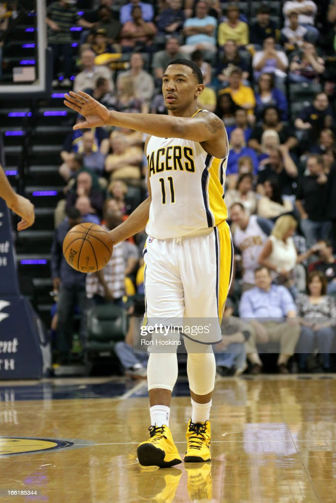 <a gi-track='captionPersonalityLinkClicked' href=/galleries/search?phrase=Orlando+Johnson&family=editorial&specificpeople=6849358 ng-click='$event.stopPropagation()'>Orlando Johnson</a> #11 of the Indiana Pacers drives to the hoop against the Cleveland Cavaliers on April 8, 2013 at Bankers Life Fieldhouse in Indianapolis, Indiana.