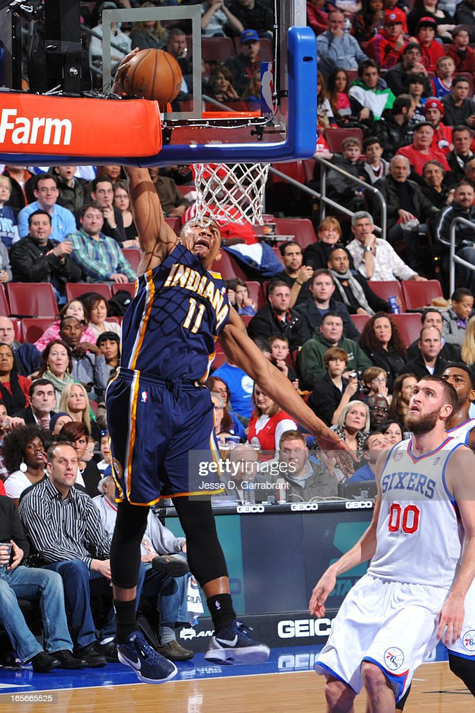 Orlando Johnson #11 of the Indiana Pacers dunks the ball against the Philadelphia 76ers at the Wells Fargo Center on March 16, 2013 in Philadelphia, Pennsylvania.