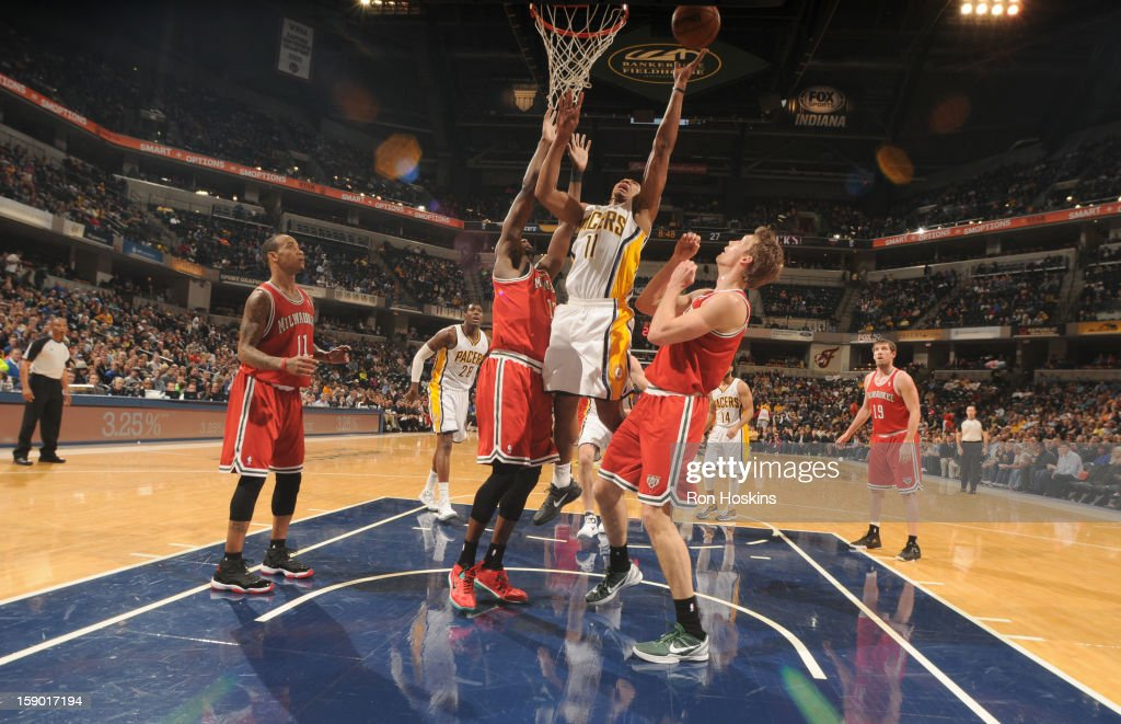 <a gi-track='captionPersonalityLinkClicked' href=/galleries/search?phrase=Orlando+Johnson&family=editorial&specificpeople=6849358 ng-click='$event.stopPropagation()'>Orlando Johnson</a> #11 of the Indiana Pacers goes to the basket during the game between the Milwaukee Bucks and the Indiana Pacers on January 5, 2013 at Bankers Life Fieldhouse in Indianapolis, Indiana.