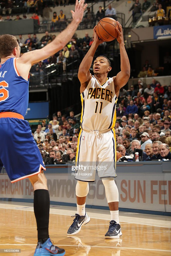 Orlando Johnson #11 of the Indiana Pacers handles the ball during the game between the Indiana Pacers and the New York Knicks on February 20, 2013 at Bankers Life Fieldhouse in Indianapolis, Indiana.