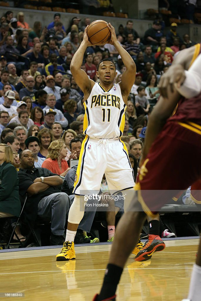 <a gi-track='captionPersonalityLinkClicked' href=/galleries/search?phrase=Orlando+Johnson&family=editorial&specificpeople=6849358 ng-click='$event.stopPropagation()'>Orlando Johnson</a> #11 of the Indiana Pacers looks to pass the ball against the Cleveland Cavaliers on April 8, 2013 at Bankers Life Fieldhouse in Indianapolis, Indiana.