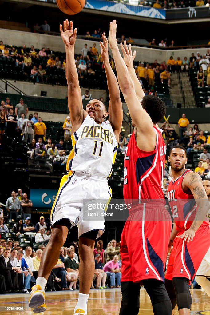 <a gi-track='captionPersonalityLinkClicked' href=/galleries/search?phrase=Orlando+Johnson&family=editorial&specificpeople=6849358 ng-click='$event.stopPropagation()'>Orlando Johnson</a> #11 of the Indiana Pacers shoots against the Atlanta Hawks in Game Five of the Eastern Conference Quarterfinals during the 2013 NBA Playoffs on May 1, 2013 at Bankers Life Fieldhouse in Indianapolis, Indiana.