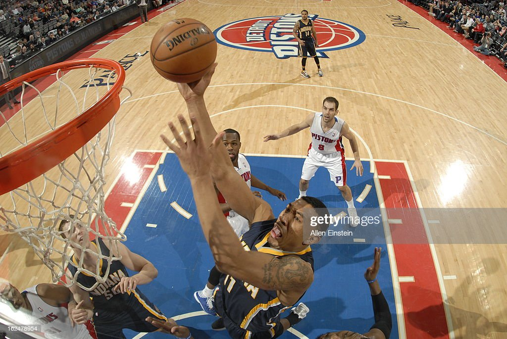 <a gi-track='captionPersonalityLinkClicked' href=/galleries/search?phrase=Orlando+Johnson&family=editorial&specificpeople=6849358 ng-click='$event.stopPropagation()'>Orlando Johnson</a> #11 of the Indiana Pacers shoots against the Detroit Pistons on February 23, 2013 at The Palace of Auburn Hills in Auburn Hills, Michigan.