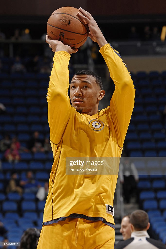 <a gi-track='captionPersonalityLinkClicked' href=/galleries/search?phrase=Orlando+Johnson&family=editorial&specificpeople=6849358 ng-click='$event.stopPropagation()'>Orlando Johnson</a> #11 of the Indiana Pacers warms up before the game against the Orlando Magic on March 8, 2013 at Amway Center in Orlando, Florida.