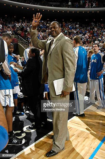 Orlando Magic assistant coach Patrick Ewing waves to the crowd after being recognized as an inductee to the Naismith Memorial Basketball Hall of Fame...