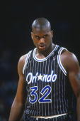 Orlando Magic' center Shaquille O'Neal stands on the court during a game against the Washington Bullets at Capital Center circa 1994 in Washington DC...
