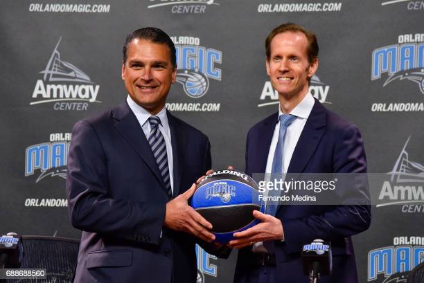 Orlando Magic CEO Alex Martins and Jeff Weltman pose for a photo during a press conference on May 24 2017 at Amway Center in Orlando Florida NOTE TO...