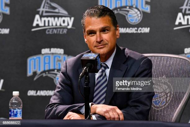Orlando Magic CEO Alex Martins introduces Jeff Weltman as President of Basketball Operations during a press conference on May 24 2017 at Amway Center...