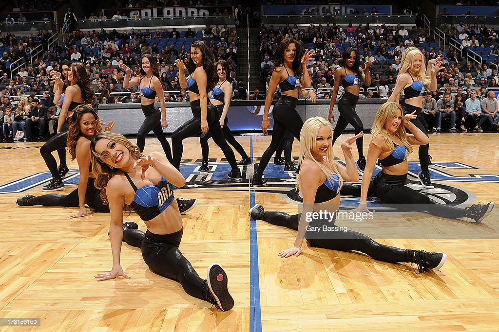Orlando Magic Dancers perform during the game between the Memphis Grizzlies and the Orlando Magic on March 3, 2013 at Amway Center in Orlando, Florida.