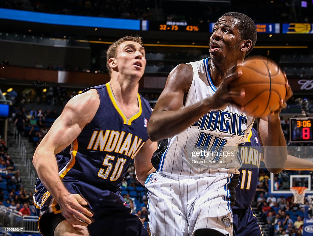 Orlando Magic forward Andrew Nicholson (44) drives to the basket against Indiana Pacers' Tyler Hansbrough (50) during fourth-quarter action at the Amway Center on Wednesday, January 16, 2013, in Orlando, Florida.